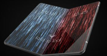 Faltbares Smartphone mit blau-rotem Display
