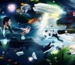 Junger spieler mit einem Controller in einem digitalen Universum