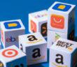 Shopping Plattformen dargestellt in Würfeln