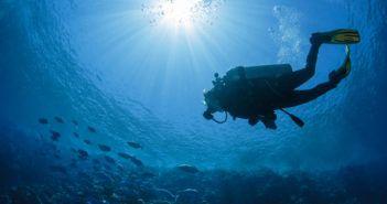 Taucher taucht im roten Meer in Ägypten