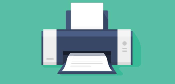 Drucker auf grünem Hintergrund